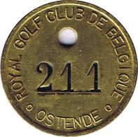Oostende Royal Golf Club De Belgique ° Ostende° Cloak Room Token. - Gettoni Di Comuni
