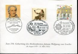 Germany Special Cover - 250th Birthday Johann Wolfgang Goethe - Scrittori