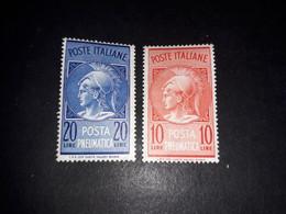 "A10MIX4 REPUBBLICA ITALIANA 1958-66 POSTA PNEUMATICA SERIE 2 VALORI ""XX"" - 1961-70:  Nuevos"