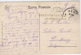 Zichtkaart Gent Met CORRESPONDANCE PRIVEE ARMEE BELGE Van Gent Naar LEUTH Relais - Sonstige Briefe U. Dokumente