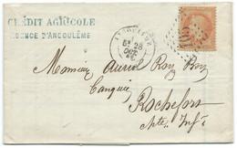 N° 31 ORANGE NAPOLEON SUR LETTRE / ANGOULEME POUR ROCHEFORT / 1869 / CREDIT AGRICOLE - 1849-1876: Klassik