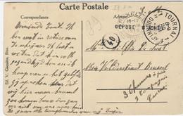 Zichtkaart Tournai Met DEPOSE G ICHET (zonder U !!)van TOURNAI 1 Naar Brussel - Sonstige Briefe U. Dokumente