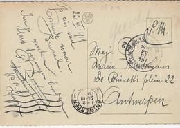 Zichtkaart Oostende Met Handgeschreven GUICHET Van Brussel Naar Antwerpen - Sonstige Briefe U. Dokumente