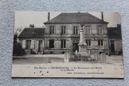 Cpa 1939, Richebourg, Le Monument Aux Morts Et La Mairie, Haute Marne 52 - Other Municipalities