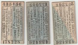 """3 Tickets Différents """"les Voyages Gratuits"""" Chemin De Fer Ou Cars Renault Pub Boucherie Verna Rue Des Martyrs Paris 9° - Andere"""