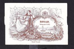 546/29 -- BRUGES CARTE PORCELAINE - Carte Illustrée Armoiries Belges , Bateau Et Reine - Daveluy , Lithographe Du Roi - Cartes De Visite