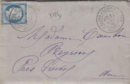 RHONE LAC 1876 VILLEFRANCHE S SAONE TYPE 18 SUR CERES FIN DU GC + OR = ESPAGNE - 1849-1876: Classic Period