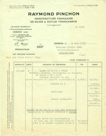 """VERNON (Eure) 1955 Facture """" Raymond PINCHON Manufacture De Scies & Outils Tranchants """" - Transporte"""