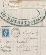 ARIEGE LAC 1859 LARROQUE D'OLMES PC ET TYPE 22 FRAPPES SUPERBES + BOITE RURALE B = PEYRAT - 1849-1876: Klassik