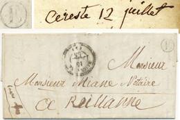 BASSES ALPES LAC 1855 REILLANNE FRANCHISE + BOITE RURALE E= CERESTE - 1849-1876: Classic Period