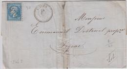 ARIEGE LAC 1863 VIVIES GC ET T22   INDICE 8 - 1849-1876: Classic Period