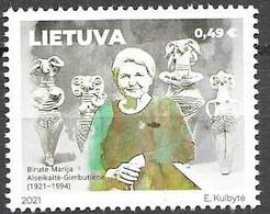 LITHUANIA, 2021, MNH, WORLD FAMOUS PEOPLE OF LITHUANIAN ORIGIN, ARCHAEOLOGY, BIRUTE MARIJA ALEKSEIKAITE-GIMBUTIENE,1v - Archéologie