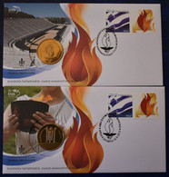 FDC  GREECE Touches Of Olympic Flame Αφη ολυμπιακης φλογας 5FDC+ 2 FDC MEDAL - FDC