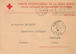 Carte Comité International CROIX ROUGE Agence Centrale Prisonniers De Guerre Genève Suisse 30/10/1940 à Graulhet Tarn - WW II