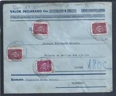 Carta Valor Declarado Da CUF - Companhia União Fabril Do Barreiro De 1943. Lacre Com Logo Da CUF. 2ª Guerra Mundial. - Covers & Documents