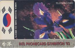 TARJETA DE COREA DEL SUR DE UNA FLOR (FLOWER) INTL. PHONECARD EXHIBITION 93 - Korea, South