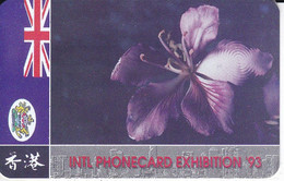 TARJETA DE HONG KONG DE UNA FLOR (FLOWER) INTL. PHONECARD EXHIBITION 93 - Hong Kong