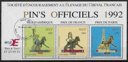 France Vignette Bloc De 3 Vignettes Neuves** PINS OFFICIELS - Société D'Encouragement Elevage Du Cheval Français - état - Otros