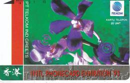 TARJETA TAMURA DE INDONESIA DE UNA FLOR (FLOWER) INTL. PHONECARD EXHIBITION 93 - Indonesia