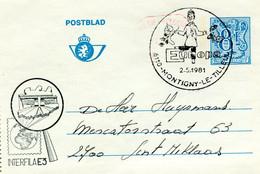 1981 Postblad 8Fr Met Bijfrankering - Stempel EUROPA 2-5-1981 6110 MONTIGNY LE TILLEUL - INTERFILA E3 - Letter-Cards