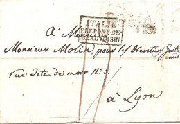 ITALIE / PAR LE PONT DE / BEAUVOISIN Dans Un Rectangle.31 Aout 1822 - Marques D'entrées