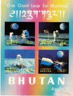 Bhutan 1969 3D Apollo 11 Stamps, One Minisheet Mid Values Manned Moon Landing MNH Bhoutan - Bhutan