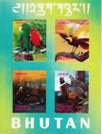Bhutan 1969 3D Birds Stamps, One Minisheet High Values Macaw Paradise Bird Duck Pheasant  MNH Bhoutan - Bhutan