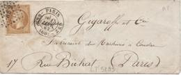 LT5293   N°13B/Enveloppe, Oblitéré Losange HS2 De Paris Du 15 Janv 1862 De Paris Pour Paris - 1853-1860 Napoleone III
