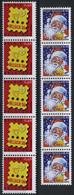 België 3631/32 - Kerstman En Logo Belgica (groot Formaat) - In Strook Van 5 - Bande De 5 - Ongebruikt