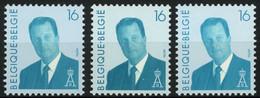België 2535 + 2535P5 + 2535P5c - Koning Albert II - Groenachtige Gom - Roze Schijn + Blauwe Schijn + Bruinachtige Schijn - Ongebruikt