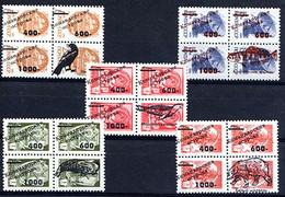 KOMANDOR ILES 1994, SURCHARGES / OVERPRINTED FAUNE DIVERSE Sur 5 Blocs De 4 URSS / SU. EMISSION LOCALE.  Rpet340 - Siberië En Het Verre Oosten