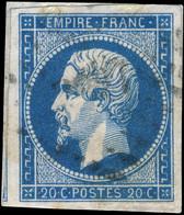 France - Yv.14A 20c Bleu T.1 - Obl. TB Sur Fragment - (ref.04k) - 1853-1860 Napoleon III