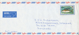 Tuvalu Air Mail Cover Overprinted OFFICIAL Sent To Denmark 1981 Topic Stamp FISH - Tuvalu