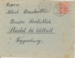 Switzerland Cover Dietlikon 11-8-1904 (2 Tears At The Top Of The Cover) - Covers & Documents