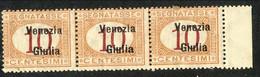 Venezia Giulia 1918 Tasse N. 2 C 10 Arancio E Carminio Striscia Di 3 OG MNH Cat. € 120 - Venezia Giulia