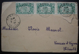 La Réunion 1926 Bande De 3 X N°85, Oblitération Tampon, Pour Causses Et Veyran Hérault - Lettres & Documents