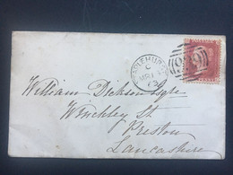 GB Victoria 1863 Cover Staplehurst Duplex To Preston Tied With 1d Red Star - Covers & Documents