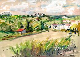 LAPUJADE Paul René (1900 - 1989), Montferrier-sur-Lez, 1950, Gouache, Peintre Provençal - Estampas