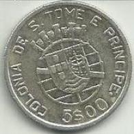 5 Escudos 1939 S. Tomé Silver - Sao Tome And Principe