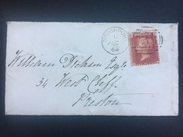 GB Victoria 1864 Cover Stockport Duplex To Preston  Tied With 1d Red Plate 90 - Briefe U. Dokumente