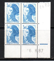 FRANCE N° 2485 3.60 BLEU TYPE LIBERTE COIN DATE DU 6.8.1987 NEUF SANS CHARNIERE - 1980-1989