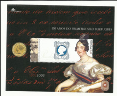 Portugal 2003 - 150 Years Postal Stamp, Engraved Stamp Queen Maria II S/S MNH - Unused Stamps