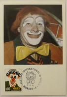 CIRQUE / CLOWN - 2e Festival International De Monaco - Carte Philatélique Avec Timbre Monaco 1975 - Circus