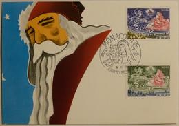 PERE NOEL - Carte Philatélique Avec 2 Timbres Monaco 1977 Avec Pere Noel Sur Son Traineau - Santa Claus