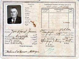 1938 CARTES D'IDENTITÉ MARRUECOS PROTECTORADO ESPAÑOL TARJETA DE IDENTIDAD - Historische Documenten