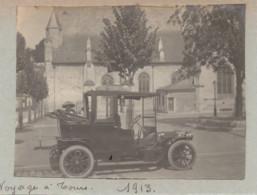 Automobile à Tours 1913 Femme L église Photo - Cars