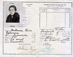 1937 CARTES D'IDENTITÉ MARRUECOS PROTECTORADO ESPAÑOL TARJETA DE IDENTIDAD - Historische Documenten