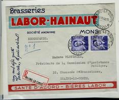 Env. à Entête ( Brasseries LABOR - HAINAUT) Avec Paire N° 1029 Obl. BRAINE - LE - COMTE 17/11/60 En Rec. - 1953-1972 Lunettes