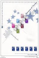 """(Faciale Env 7.50 €) 2010 """" MARIANNE ( DE BEAUJARD ) ET L'EUROPE """" Sur Doc Officiel 1°Jour. N° YT 4473 à 4478. DPO - 2008-13 Marianne De Beaujard"""