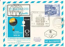 Austria Balloon Cover Special Flight No. 6 Wien 28-6-1964 On FDC UPU Congress I Wien 15-6-1964 - Balloon Covers